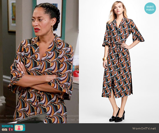 Brooks Brothers Silk Crepe Twirl Dress worn by Tracee Ellis Ross on Blackish