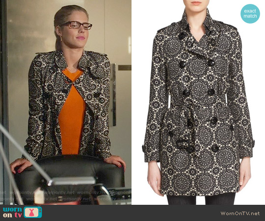 Burberry London 'Kensington' Lace Print Silk Trench Coat worn by Felicity Smoak on Arrow