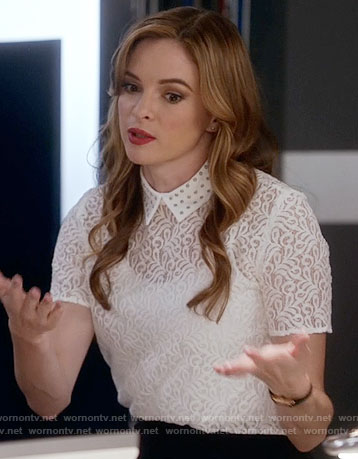Caitlin's white lace collared top on The Flash