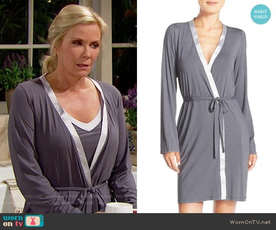 Calvin Klein Essentials Short Satin Robe worn by Katherine Kelly Lang on The Bold & the Beautiful