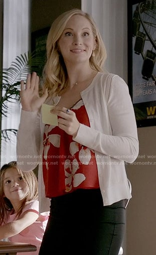 Caroline's red floral cami on The Vampire Diaries