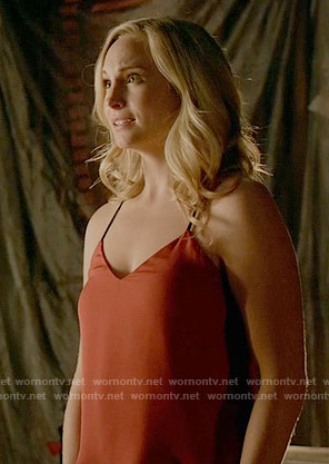 Caroline's red top with black straps on The Vampire Diaries