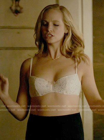 Caroline's white lace bra on The Vampire Diaries