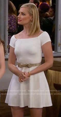 Caroline's white off-shoulder dress on 2 Broke Girls