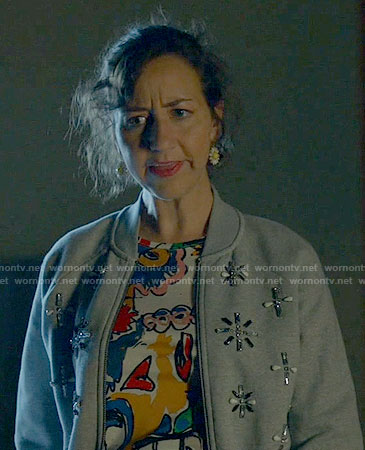 Carol's embellished bomber jacket on Last Man on Earth
