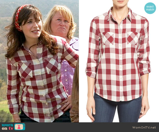 Caslon Long Sleeve Shirt in Ivory / Red Buffalo Plaid worn by Zooey Deschanel on New Girl