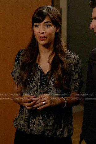 Cece's black paisley print top on New Girl