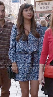 Cece's blue paisley printed long sleeve dress on New Girl