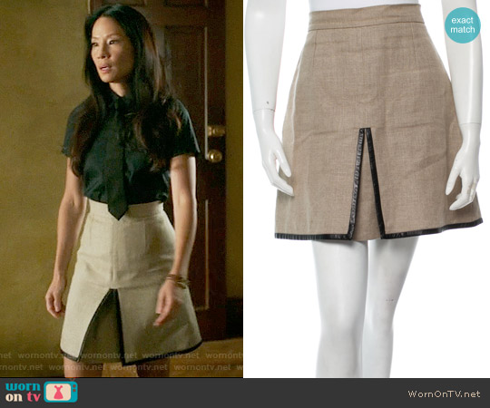 Celine Linen Skirt worn by Lucy Liu on Elementary