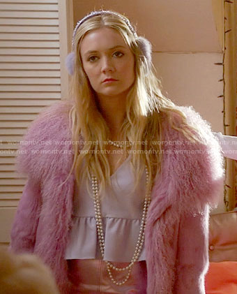 Chanel 3's purple ruffled crop top and pink fur coat on Scream Queens
