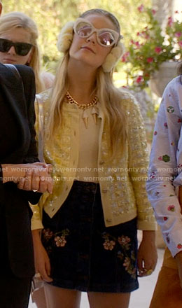 Chanel 3's yellow sequin jacket and ice cream necklace on Scream Queens