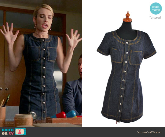 Chanel Denim One Piece Dress worn by Emma Roberts on Scream Queens