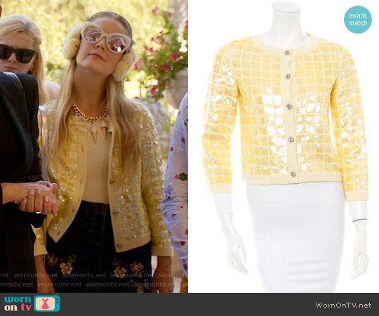 Chanel Yellow Sequin Cardigan worn by Chanel #3 on Scream Queens