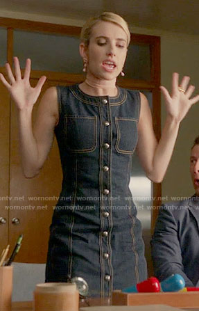 Chanel's denim button front dress on Scream Queens