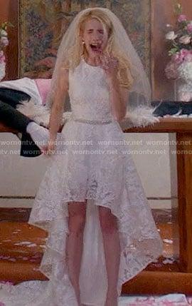 Chanel's high-low wedding dress on Scream Queens