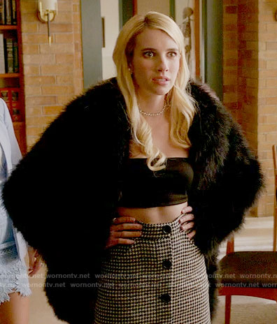 Chanel's houndstooth button front skirt and bandeau top on Scream Queens