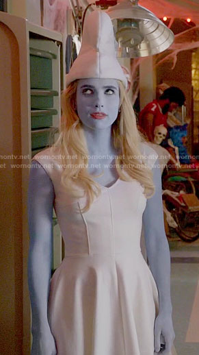 Chanel's white Smurfette dress on Scream Queens