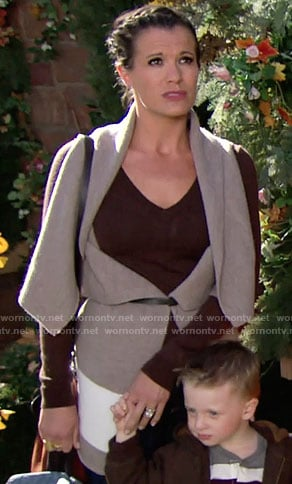 Chelsea's grey draped front vest on The Young and the Restless
