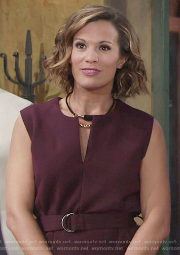 Chelsea's purple belted top on The Young and the Restless