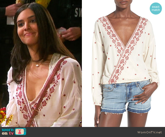 Chloe & Katie Embroidered Surplice Blouse worn by Camila Banus on Days of our Lives