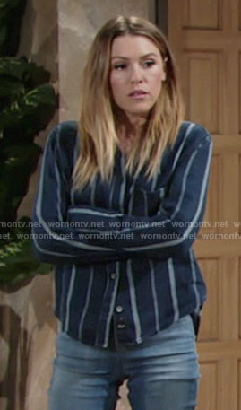 Chloe's navy striped shirt on The Young and the Restless
