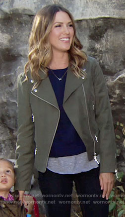 Chloe's green moto jacket on The Young and the Restless