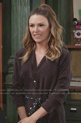 Chloe's polka dot shirtdress with star print waist tie on The Young and the Restless