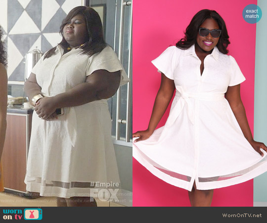 Christian Siriano for Lane Bryant White Shirtdress worn by Becky (Gabourey Sidibe) on Empire