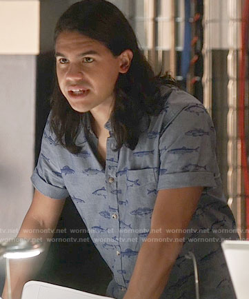 Cisco's blue fish print shirt on The Flash