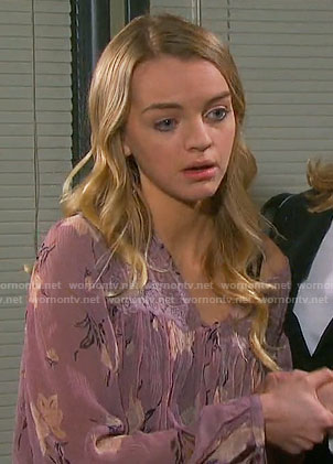 Claire's purple floral blouse on Days of our Lives