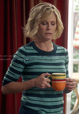 Claire's turquoise striped sweater on Modern Family
