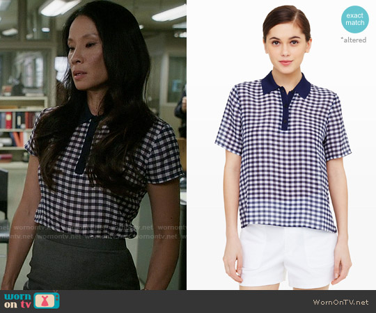 Club Monaco Landree Silk Top worn by Lucy Liu on Elementary