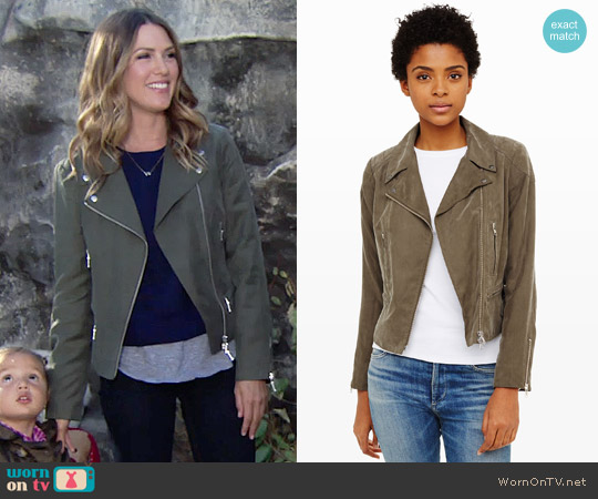 Club Monaco Kapri Moto Jacket worn by Elizabeth Hendrickson on The Young & the Restless