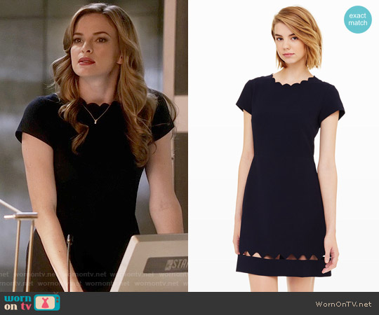 Club Monaco Milancey Dress in Navy worn by Caitlin Snow (Danielle Panabaker) on The Flash