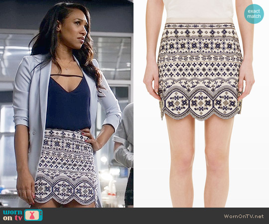 Club Monaco Turlough Embellished Skirt worn by Iris West on The Flash