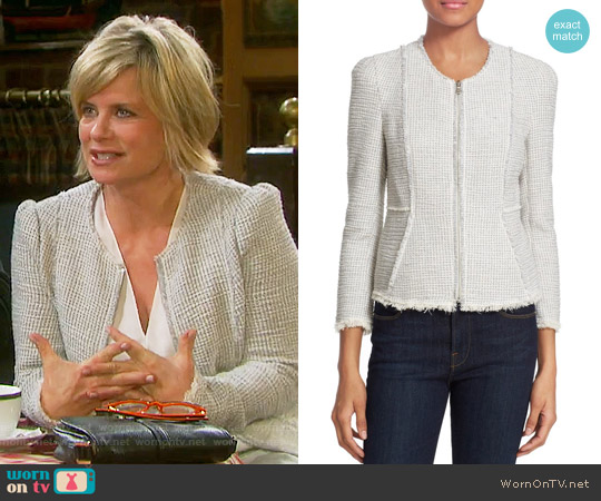 Rebecca Taylor Collarless Stretch Tweed Jacket worn by Mary Beth Evans on Days of our Lives