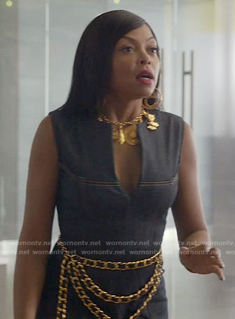 Cookie's denim split-neck dress and gold Chanel jewelry on Empire