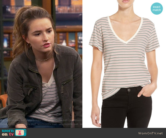 Current/Elliott Striped V-neck Tee worn by Kaitlyn Dever on Last Man Standing
