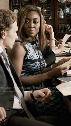 Daisy's blue textured print dress on Madam Secretary