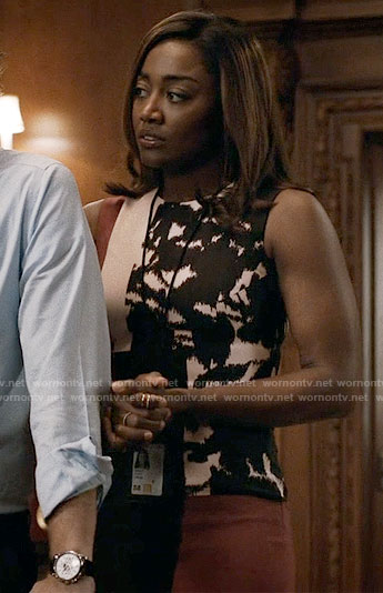 Daisy's floral colorblock dress on Madam Secretary