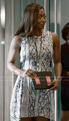 Daisy's white printed dress on Madam Secretary