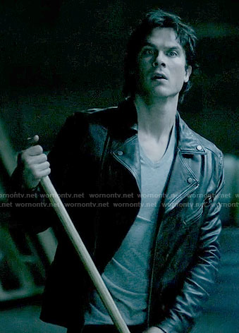 Damon's leather moto jacket on The Vampire Diaries