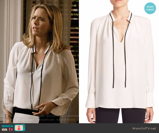 Derek Lam Long-Sleeve Tie-Neck Silk Blouse worn by Elizabeth McCord (Téa Leoni) on Madam Secretary