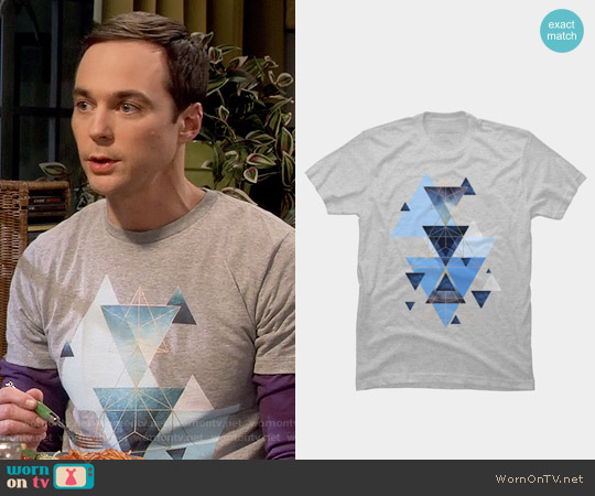 Design by Humans  jaggedhues Geometric Triangles in Blue and Rose Gold T-Shirt worn by Jim Parsons on The Big Bang Theory