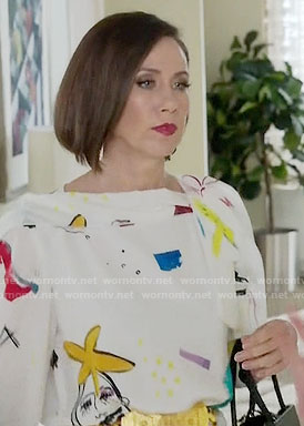 Diana's drawing print dress on Younger