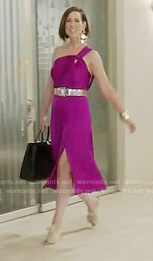 Diana's magenta one shoulder dress on Younger