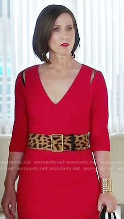 Diana's red v-neck dress on Younger
