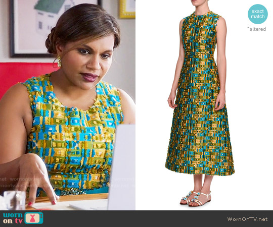 Dolce & Gabbana Sleeveless Raw-Edge Midi Dress worn by Mindy Kaling on The Mindy Project
