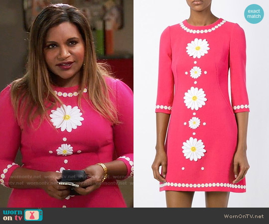 Dolce & Gabbana Daisy Embroidered Dress worn by Mindy Kaling on The Mindy Project