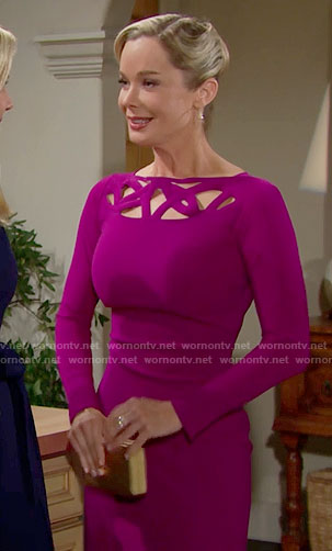 Donna's magenta dress with cutouts on The Bold and the Beautiful